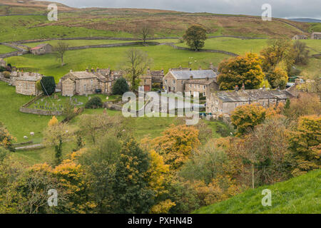 Yorkshire  Dales National Park autumn landscape, the hamlet of Keld, Upper Swaledale, UK as seen from the Coast to Coast long distance footpath - Stock Image
