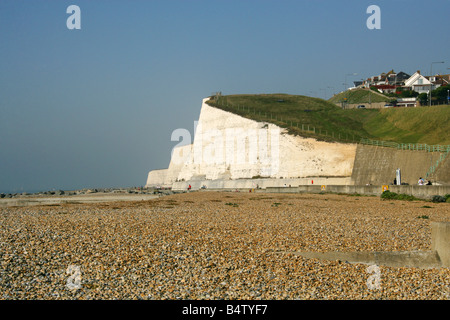 The Beach and Chalk Cliffs at Saltdean, East Sussex, UK - Stock Image