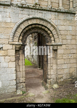 Castle Acre Priory - Norman Doorway - Stock Image