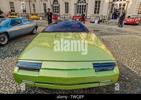 Piedmont Turin - Turin auto show 2019  - Valentino park - Valentino castle - Chevrolet Ramarro Bertone - Stock Image
