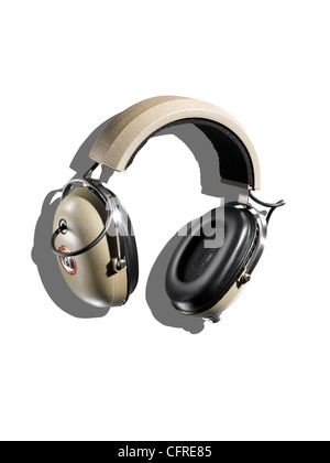Headphones on a white background with creative shadow - Stock Image