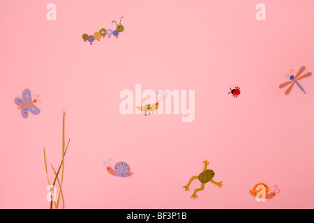 Close-up of a wall painting - Stock Image