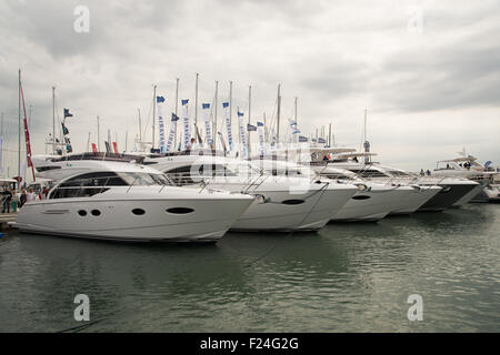 Southampton, UK. 11th September 2015. Southampton Boat Show 2015. A row of Princess yachts moored in the marina. - Stock Image