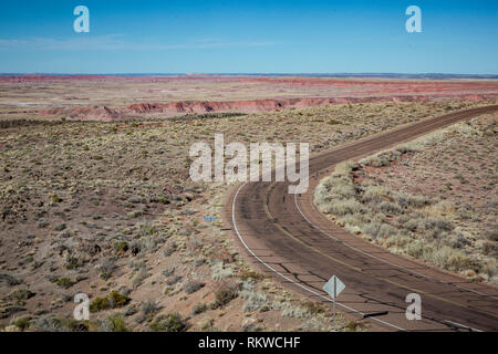 View from Pintado Point in the Petrified Forest National Park. - Stock Image