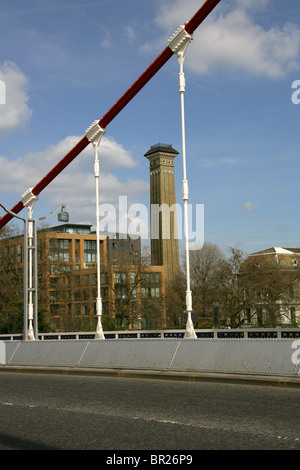 The Tower of the Victorian Sewage Pumping Station in Grosvenor Road, London, Viewed through Chelsea Bridge. - Stock Image