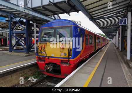 Newly Painted and Refurbished South West Trains Class 456 at Guildford Station -1 - Stock Image