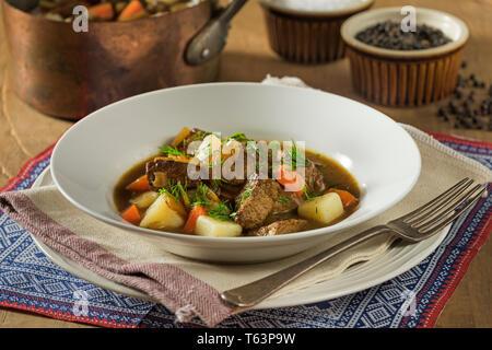 Lapskaus. Norwegian meat and vegetable stew. Food Norway - Stock Image