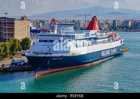 Hellenic Seaways car and passenger ferry Nissos Samos moored in port of Piraeus Athens Greece Europe - Stock Image