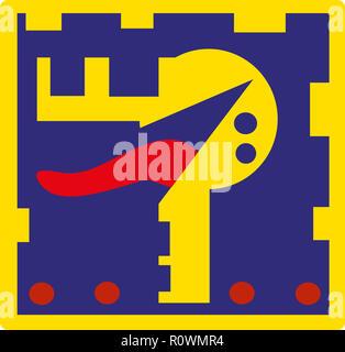 Game icon.  iconic game symbol of illustration.retro style game. - Stock Image