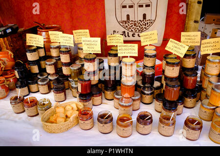 Jams and preserves on sale as a small stall in a Spanish Market - Stock Image