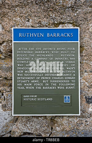 Historic Scotland sign at Ruthven Barracks near Kingussie in Cairngorms National Park, Scotland, UK. - Stock Image