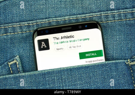 MONTREAL, CANADA - December 23, 2018: The Athletic android app on Samsung s8 screen. The app is a popular sport journalism application by The Athletic - Stock Image