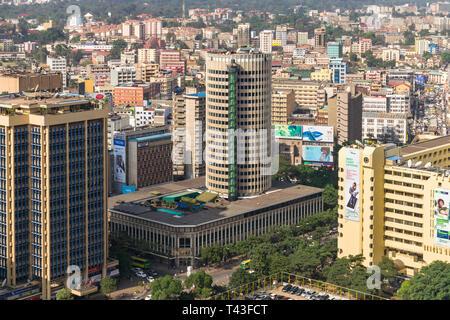 The Hilton Nairobi hotel building and Central Business District (CBD), Nairobi, Kenya - Stock Image