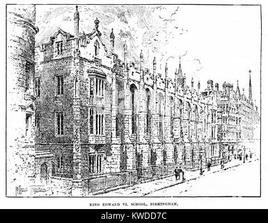 King Edward VI School, Birmingham. 19th century black and white engraving - Stock Image