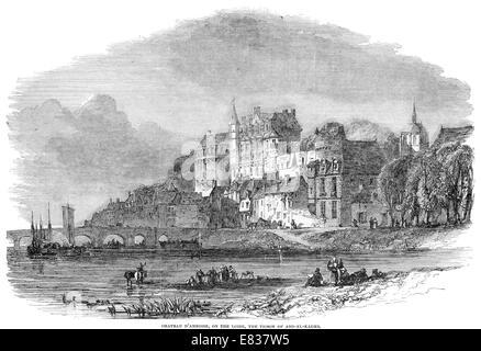 Chateau D'Amboise River Loire Prison of Abd El Kader 1853 - Stock Image
