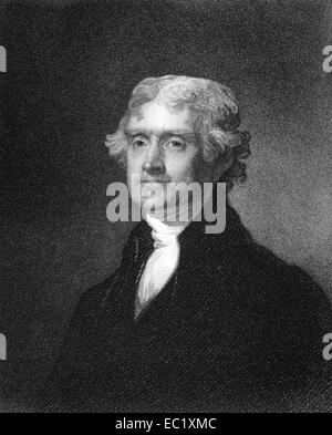 Thomas Jefferson (1743-1826) on engraving from 1835. - Stock Image