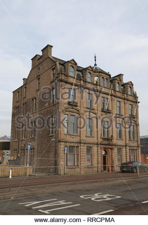 Exterior of former DP&L building under refurbishment Dundee Scotland  February 2019 - Stock Image