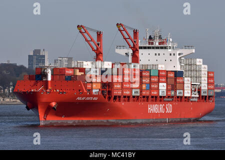 Reefer Containervessel Polar Costa Rica outbount from Hamburg, maiden call - Stock Image