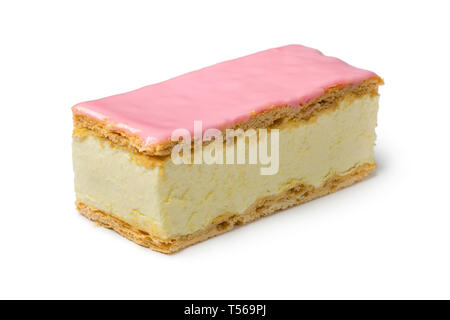 Single Dutch Tompouce pastry with pink icing close up isolated on white background - Stock Image