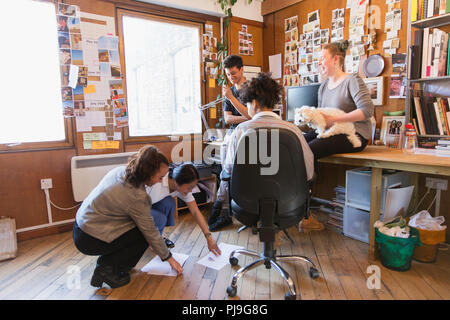Creative designers with dog brainstorming in office - Stock Image