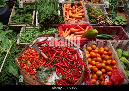 Vegetables at Ubud Markets, Bali Indonesia - Stock Image