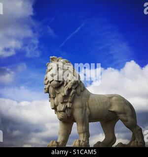 Lion on Westminster Bridge in London England - Stock Image