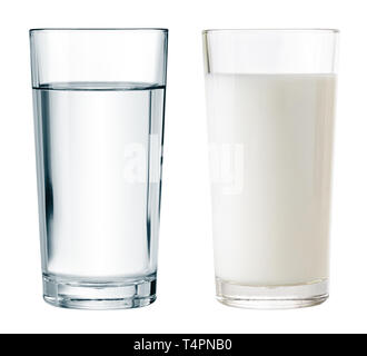 set of water and milk glasses isolated with clipping path included - Stock Image