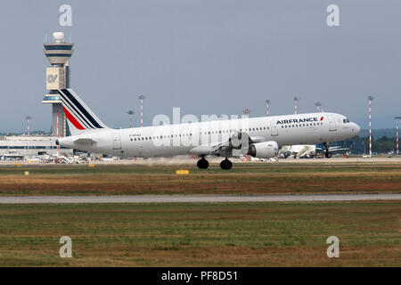 Airfrance Airbus A321 passenger jet at takeoff Photographed at Malpensa Airport, Milan, Italy - Stock Image