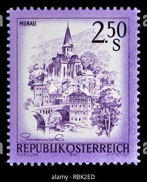 Austrian definitive postage stamp (1974) : Murau - Stock Image