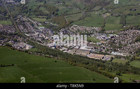 aerial view of Mytholmroyd, Hebden Bridge, West Yorkshire, UK - Stock Image
