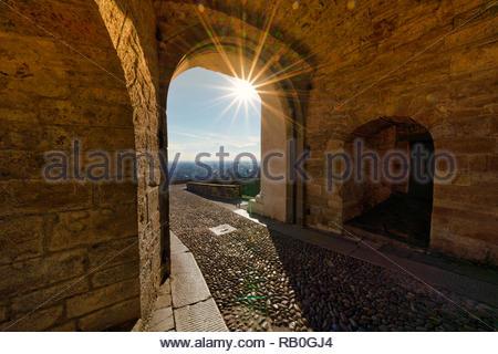 San Giacomo Door, Bergamo, Italy - Stock Image