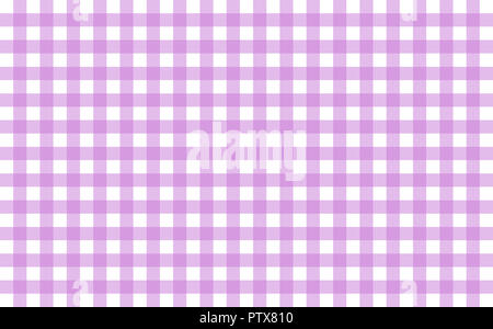 Gingham-like table cloth with lavender and white checks. Symmetrical overlapping stripes in a single solid color against white background - Stock Image