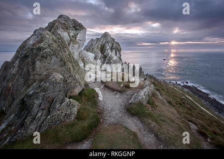 Morte point near Illfracombe Devon Uk - Stock Image
