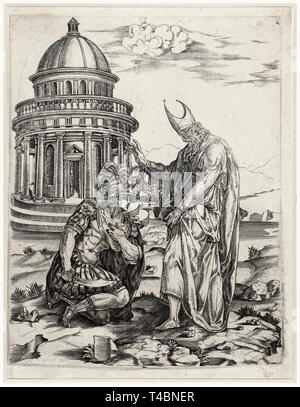 Alexander the Great kneeling before the High Priest of Ammon, engraving, Francesco Salviati, c. 1530 - Stock Image