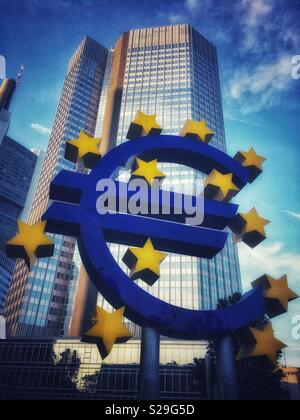 Euro symbol. Euro tower in Frankfurt-am-Main, Germany - Stock Image