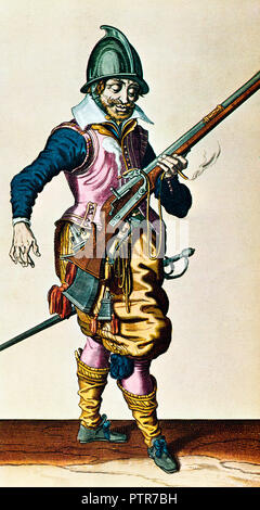 Musketeer, 1600 illustration from the military manual The Exercise of Armes by Dutch painter and engraver Jacob de Gheyn II published in the Hague in 1607 - Stock Image