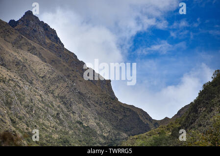 View up to Dead Woman's pass along the Inca Trail, Peru - Stock Image
