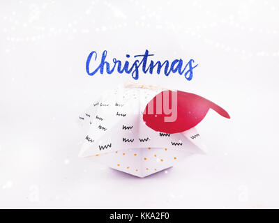 Christmas Decoration with star gift box  with snow for holidays best background image for Holiday invitation and - Stock Image