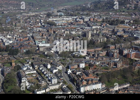 An aerial view of the Devon city of Exeter - Stock Image