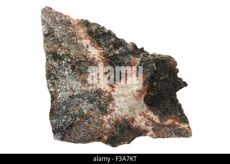 Metamorphic corona reactions - coronite as a rock sample. Red is garnet, white is plagioclase, most of the dark - Stock Image
