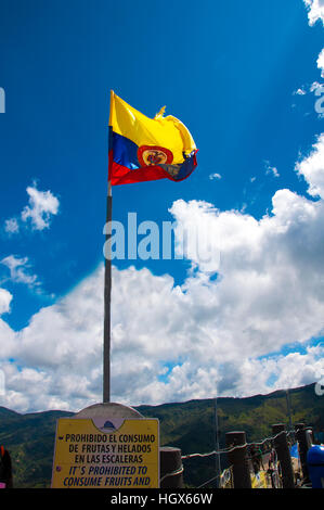 Colombian flag on the Rock of Guatape - Stock Image