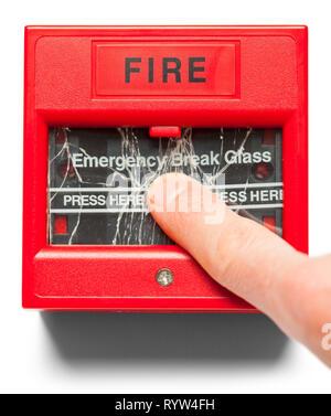 Finger Pushing Glass on Fire Alarm Isolated on White. - Stock Image