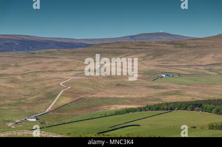 North Pennines landscape, over to Great Dun Fell from High Hurth Edge, Langdon Beck, Teesdale, UK on a fine spring day - Stock Image