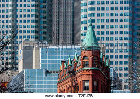 Historic Gooderham building with the towers of Brookfield Place behind it in the financial district of Toronto Ontario Canada. - Stock Image