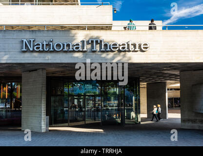 London, England, UK - May 31, 2019: People walk on the concrete terraces of the National Theatre in London's South Bank neighbourhood. - Stock Image