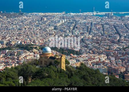 Spain, Catalonia, Barcelona City Panorama from Tibidabo Mountain - Stock Image