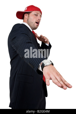 posing businessman on isolated background - Stock Image