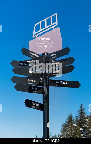 Signpost on Mount Fløyen Bergen Norway - Stock Image