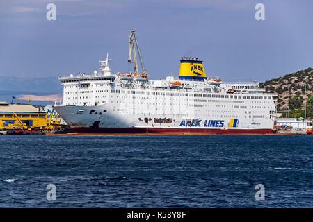 Anek Lines El. Venizelos moored in a Perama Shipyard port of Piraeus Athens Greece Europe - Stock Image