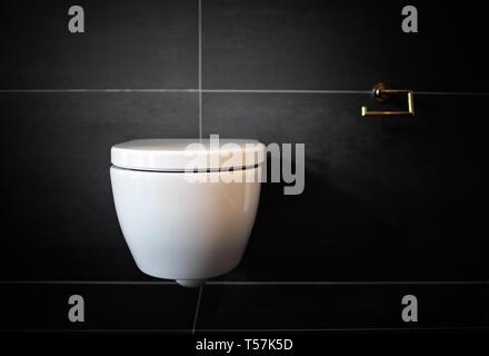Bathroom modern toilet bowl. Clean toilet bathroom. No paper - Stock Image